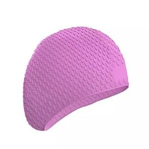 2 PCS Silicone Waterproof Swimming Caps Protect Ears Long Hair Sports Swimming Cap for Adults(Pink)