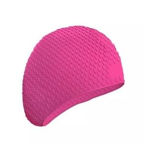 2 PCS Silicone Waterproof Swimming Caps Protect Ears Long Hair Sports Swimming Cap for Adults(Rose Red)