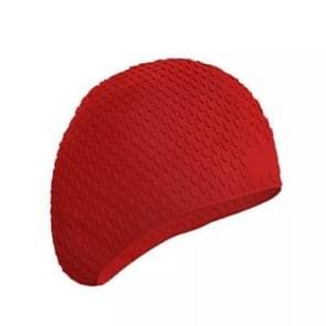 2 PCS Silicone Waterproof Swimming Caps Protect Ears Long Hair Sports Swimming Cap for Adults(Red)