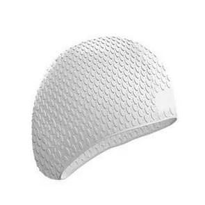 2 PCS Silicone Waterproof Swimming Caps Protect Ears Long Hair Sports Swimming Cap for Adults(White)