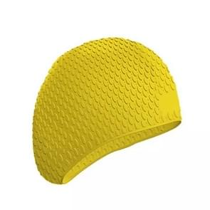 2 PCS Silicone Waterproof Swimming Caps Protect Ears Long Hair Sports Swimming Cap for Adults(Yellow)
