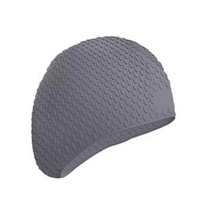 2 PCS Silicone Waterproof Swimming Caps Protect Ears Long Hair Sports Swimming Cap for Adults(Gray)