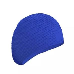 2 PCS Silicone Waterproof Swimming Caps Protect Ears Long Hair Sports Swimming Cap for Adults(Lake Blue)