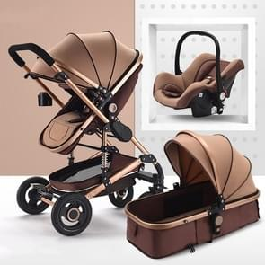 High Landscape Can Sit and Lie Four-wheel Shockproof Folding Newborn Stroller(Khaki)