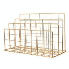 Magazine Holder Grid Wrought Iron Desktop Storage Rack Bookshelf File Organizer Holder(Gold)