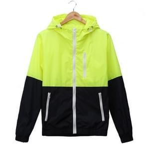 Trendy Unisex sport jassen Hooded Windbreaker dunne zon-beschermende sportkleding uitloper  grootte: XL (fluorescerende groen)