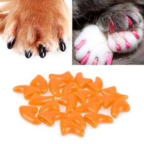 20 PCS Silicone Soft Cat Nail Caps / Cat Paw Claw / Pet Nail Protector/Cat Nail Cover, Size:M(Orange)