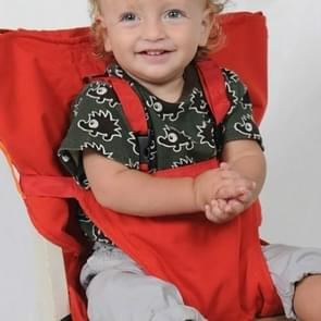 Baby Portable Seat Kids Chair Travel Foldable Washable Infant Dining Seat Cover Safety Belt(Red)