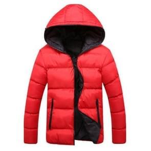 Stijlvolle slanke mannen Hooded katoen jas  maat: XXL (rood + zwart)