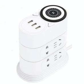 Draadloze oplaadaansluiting voor mobiele telefoon Creatieve slimme USB Power Strip multifunctionele verticale stekkerdoos voor desktops  CN-stekker  specificatie: 5 meter  stijl:3 laag(wit)