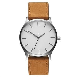 Men Simple Matte Leather Belt Quartz Watch(White Dial Brown Belt)