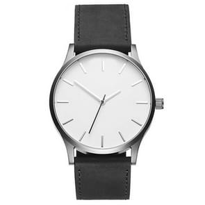 Men Simple Matte Leather Belt Quartz Watch(Black + White )