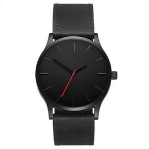 Men Simple Matte Leather Belt Quartz Watch(Black)