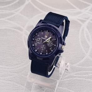 055 Men Canvas Strap Luminous Watch(Blue dial)