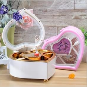 Heart Shape Dancing Ballerina Music Box Plastic Jewellery Box Girls Carousel Hand Crank Gift(White)
