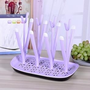 Baby Bottle Drying Rack Baby Feeding Bottles Cleaning Drying Rack Storage Nipple Shelf Baby Pacifier Feeding Cup Holder(Purple)