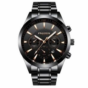 FNGEEN 5012 Men's Waterproof Luminous Imitate Six-needle Design Watch(Black steel black)