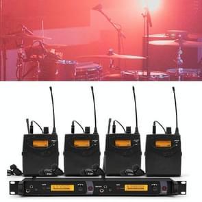 Professionele wireless stage oor terug te keren monitor zanger in-ear dual channel oor terug  specificatie: 4 taille tas pak