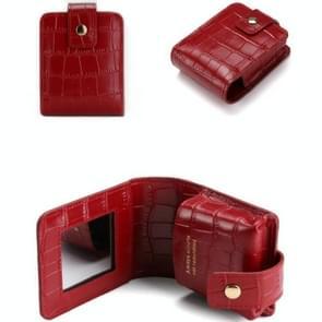 Eenvoudige Cowhide Crocodile Patroon Lipstick Bag Opslag draagbare make-up tas met spiegel (rode wijn)