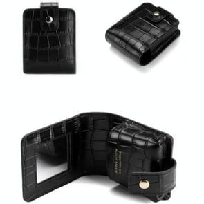 Eenvoudige Cowhide Crocodile Patroon Lipstick Bag Opslag draagbare make-up tas met spiegel (zwart)