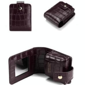 Eenvoudige Cowhide Krokodil patroon lipstick tas opslag draagbare make-up tas met spiegel (donker paars)