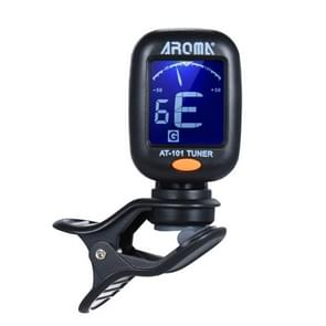 AROMA AT-101 Digital Clip-on Electric Guitar Tuner Foldable Rotating Clip High Sensitivity Ukulele Guiatr Accessories(Black)