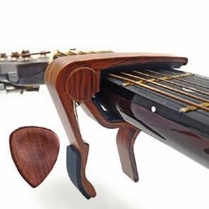 2 in 1 massief hout folk muziek gitaar Capo + pick set (donker hout)