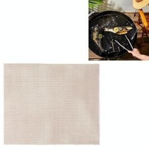 3 PCS Non-Stick Grid Sheet Teflon Barbecue Mat Grill Grid Mat  Grootte:30x40 cm(Bruin)