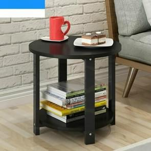Small Size Home Wooden Coffee Table Simple Modern Living Room Sofa Bedroom Round Tea Table, Size:50*50*43cm(Black)