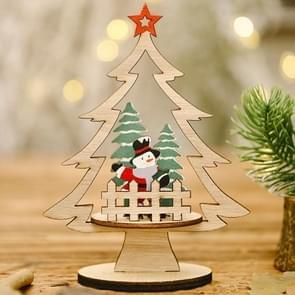 6 PCS kerstversiering Festival levert houten diy kerstboom decoratie desktop decoratie (sneeuwpop)