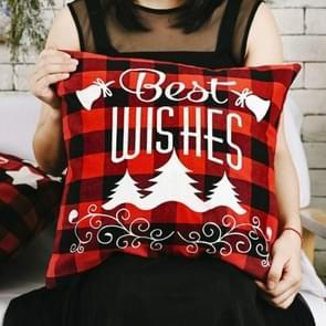 3 PCS Kerst ornamenten Linnen geruite kussensloop Kerst elk kussensloop  zonder pillow core (beste wensen)