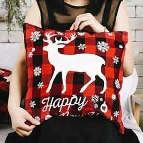 3 PCS Kerst ornamenten Linnen geruite kussensloop Kerst elk kussensloop  zonder pillow core (Elk)
