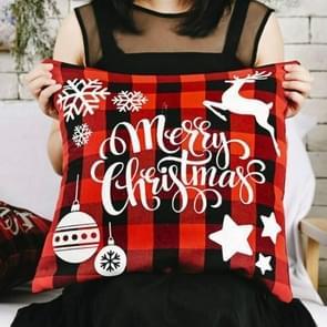 3 PCS Kerst ornamenten Linnen geruite kussensloop Kerst elk kussensloop  zonder pillow core (Merry Christmas Snowflake)