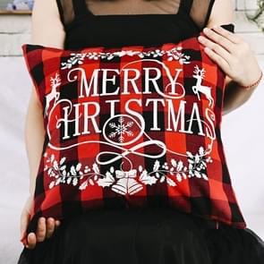 3 PCS Kerst ornamenten Linnen geruite kussensloop Kerst elk kussensloop  zonder pillow core (Merry Christmas)