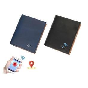Mannen Lederen Business Wallet Bluetooth Anti-Lost Alarm Smart Coin Portemonnee (Zwart)