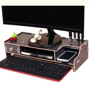 Monitor Wooden Stand Computer Desk Organizer with Keyboard Mouse Storage Slots(Black)