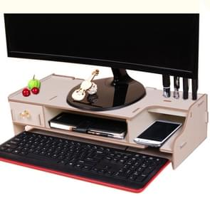 Monitor Wooden Stand Computer Desk Organizer with Keyboard Mouse Storage Slots(Oak)