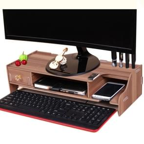 Monitor Wooden Stand Computer Desk Organizer with Keyboard Mouse Storage Slots(Cherrywood)
