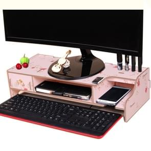 Monitor Wooden Stand Computer Desk Organizer with Keyboard Mouse Storage Slots(Flower)