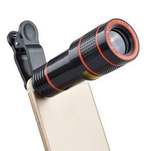 2 PCS 12x Telescoop Camera Zoom Mobiele Telefoon Externe Lens (Zwart)