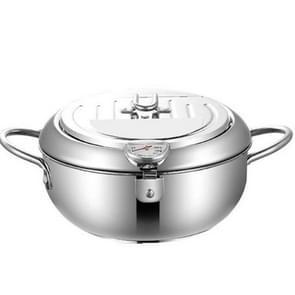 304 Roestvrijstalen frituur pot huishoudelijke ttemperature-gecontroleerde multifunctionele verdikking pot  grootte:24cm