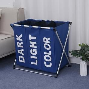 Collapsible Three Grid Dirty Clothes Laundry Hamper Organizer Home Storage Basket(Blue)