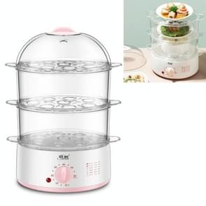 LINGRUI Timer Mini Multi-function Egg Cooker Automatic Power Off Home Breakfast Machine  CN Plug  Specificatie:Three Layers(Pink)