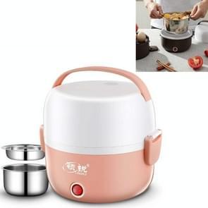 LINGRUI Multi-functie elektrische lunchbox elektrische verwarming isolatie koken mini rijstkoker  CN Plug  Specificatie: Dubbele laag (roze)