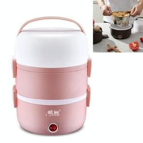 LINGRUI Multi-functie elektrische lunchbox elektrische verwarming isolatie koken mini rijstkoker  CN Plug  Specificatie: Drie laag (roze)