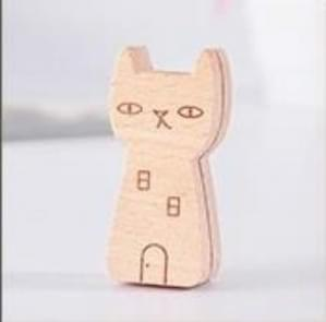 5 PCS Cute Animal Wooden Information Folder Photo Clip Product Display Board Base Notes Message Memo Clip(Cat)