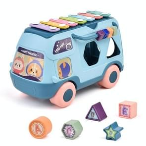 Kinderen multifunctionele bus speelgoed met lichte muziek vroeg onderwijs puzzel speelgoed (Blauw)