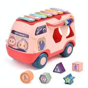 Kinderen multifunctionele bus speelgoed met lichte muziek vroeg onderwijs puzzel speelgoed (Roze)