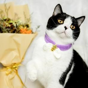 2 PCS Gebreide Kat Kleine Vlinderdas Cute Winter Warme Cat Sjaal (Paars)