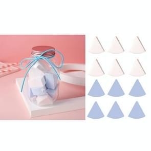 3 Sets 12 in 1 blikjes wegwerppoeder bladerdeeg driehoek make-up powder puff set ventilator-vormige poeder bladerdeeg (Blauw Wit)